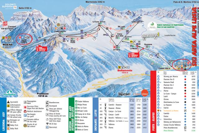 Moena-Alpe Lusia-Bellamonte Trail Map