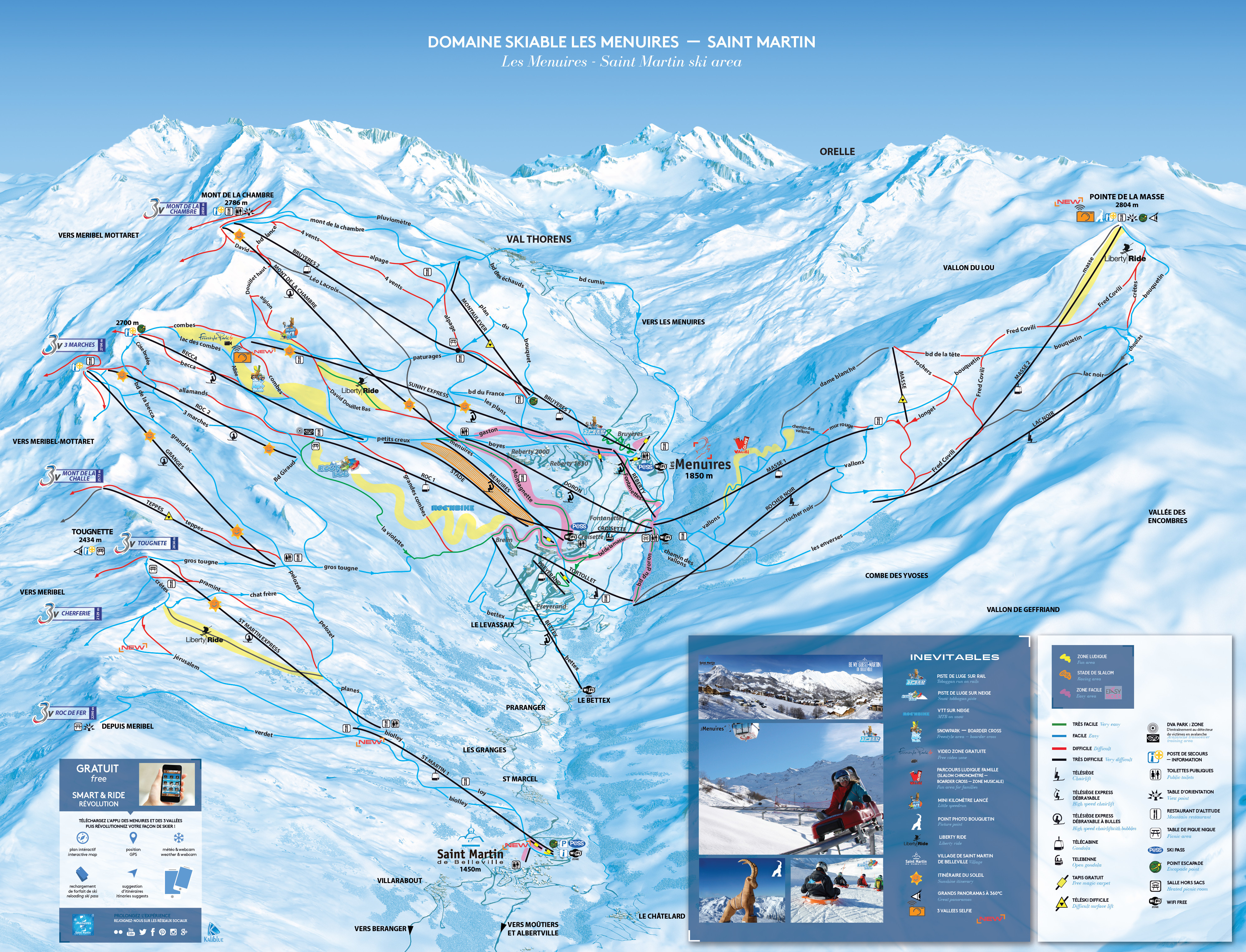Les Menuires Piste Map Plan of ski slopes and lifts OnTheSnow