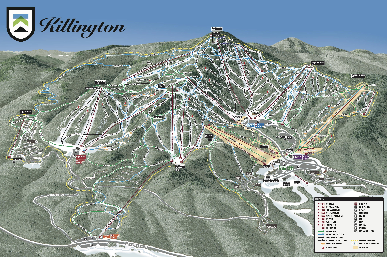 Skiing New England Map.Killington Resort Trail Map Onthesnow