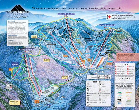 Smugglers' Notch Resort Plan des pistes