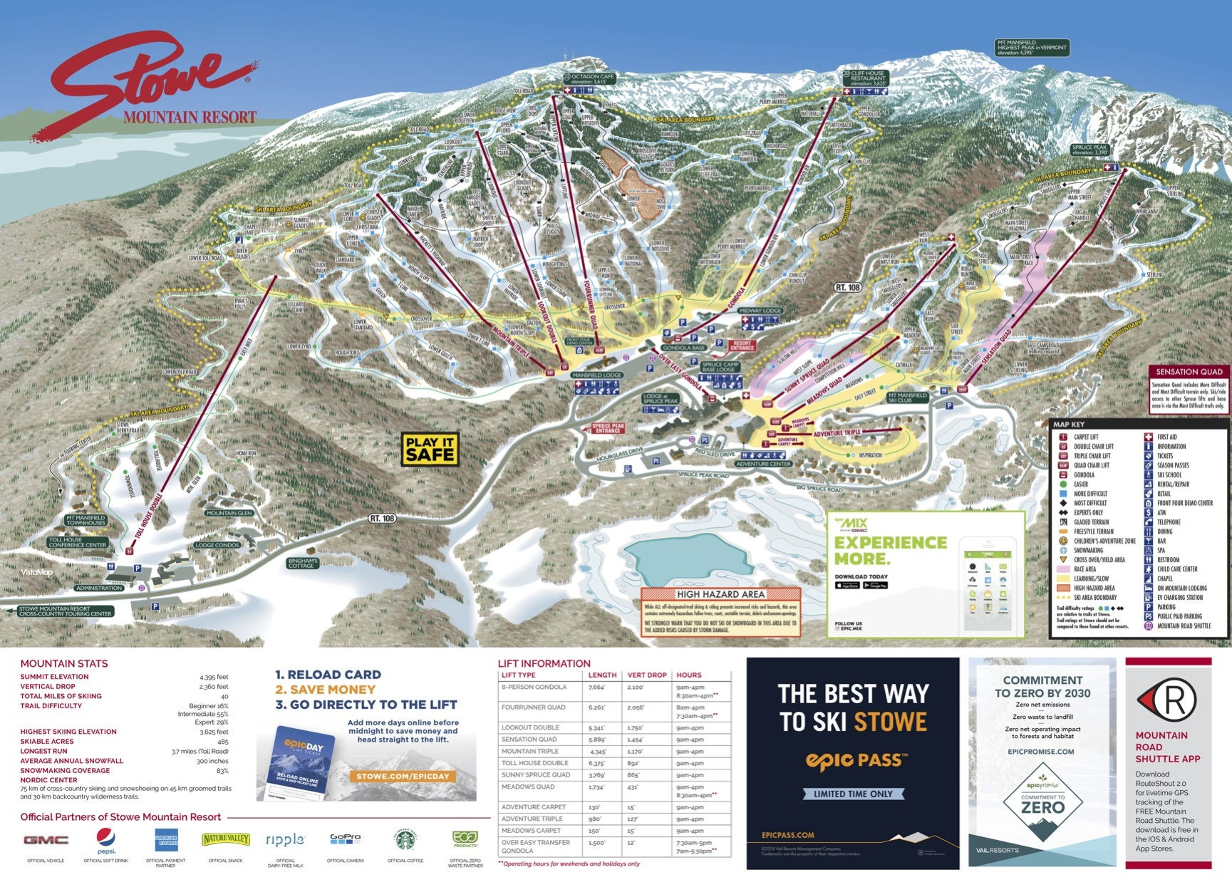 stowe mountain resort trail map | onthesnow