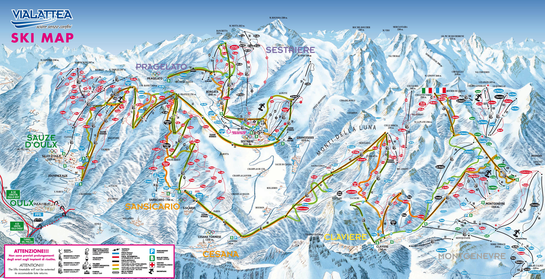 sestrière piste map | plan of ski slopes and lifts | onthesnow