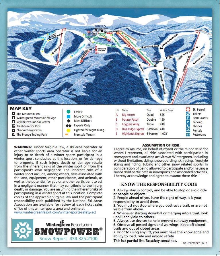 Skiing Virginia Map.Wintergreen Resort Trail Map Onthesnow