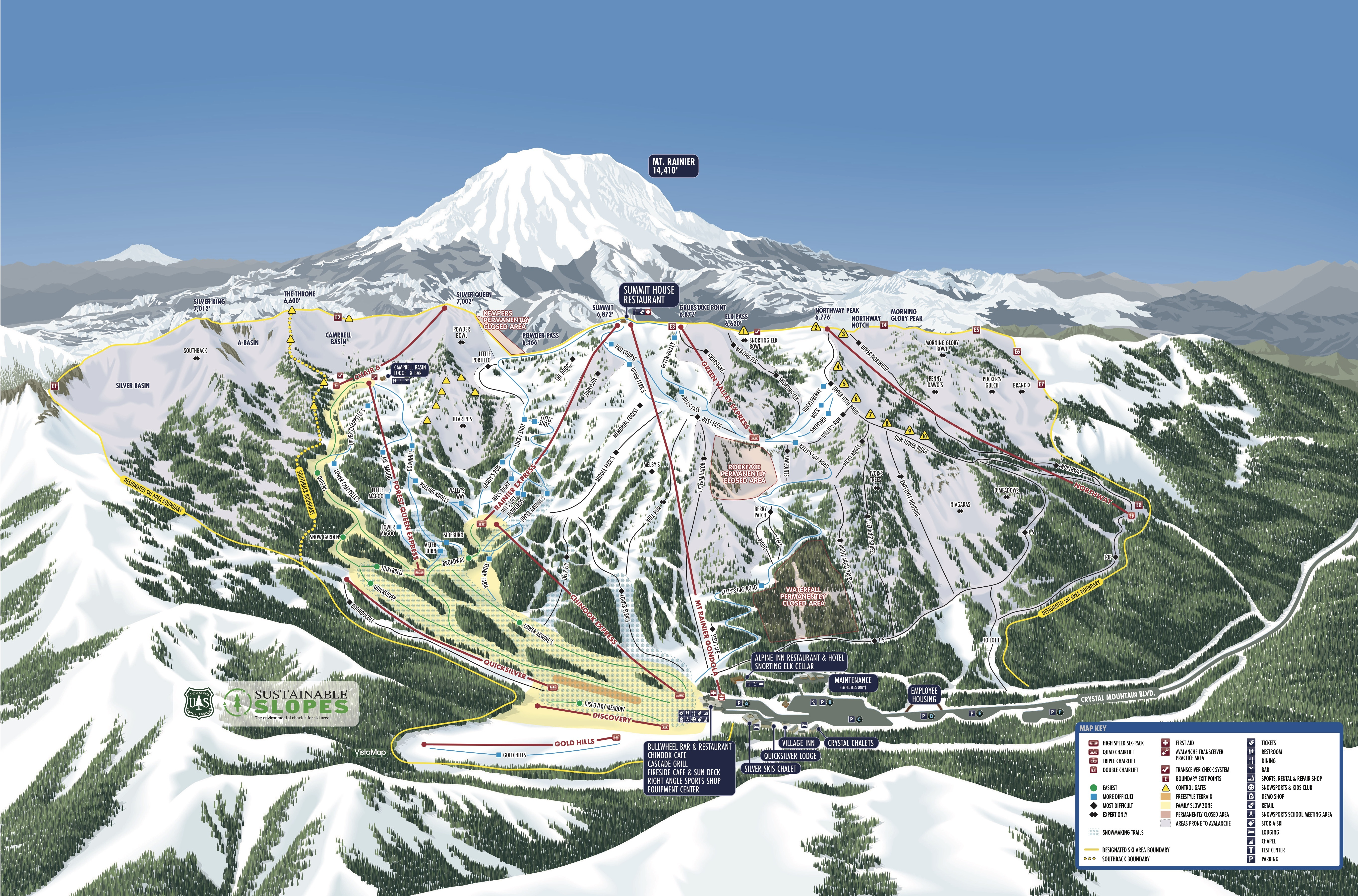 Crystal Mountain Map Crystal Mountain Trail Map | OnTheSnow