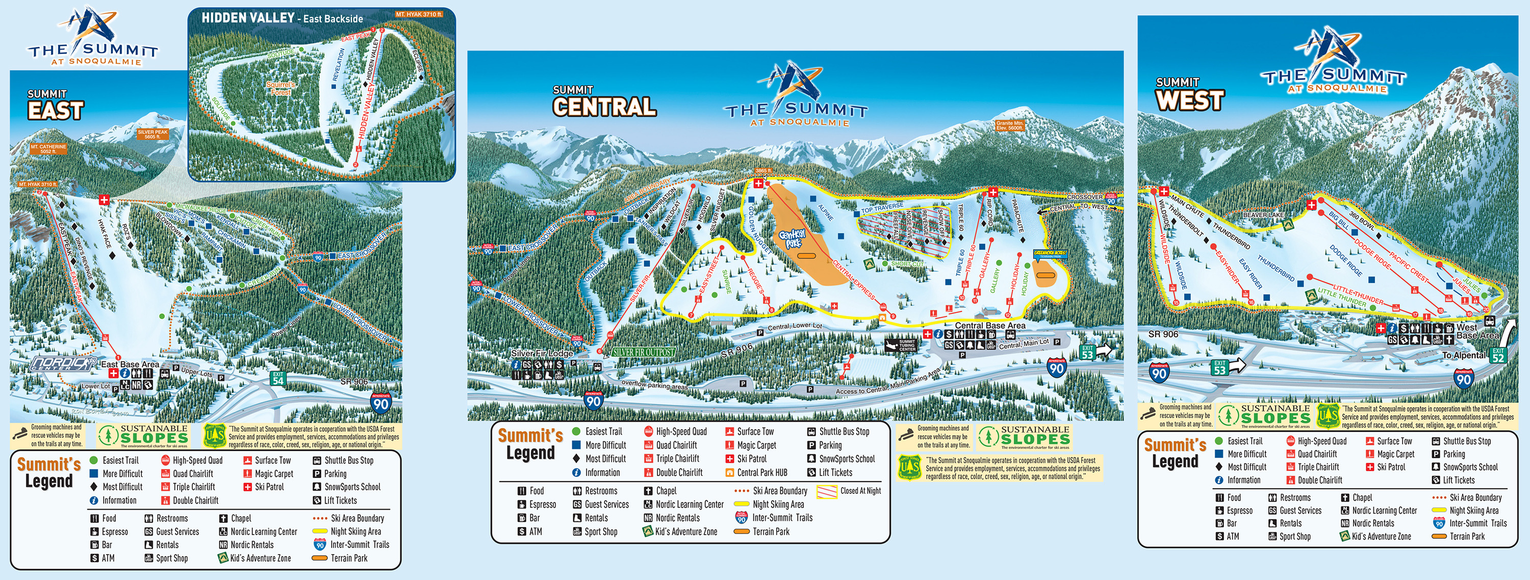The Summit At Snoqualmie Trail Map - Us ski resorts map
