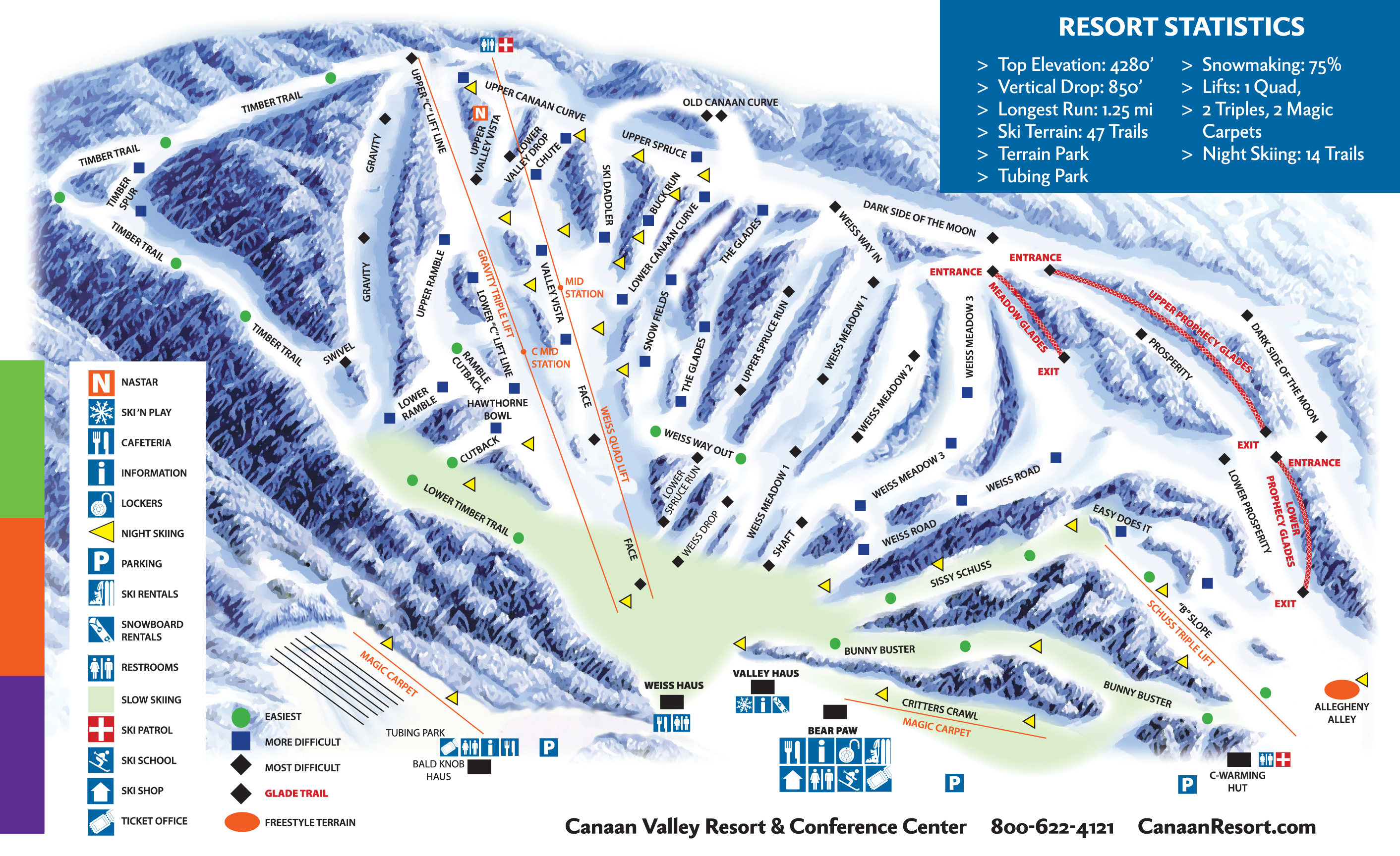 Canaan Valley Resort Trail Map | OnTheSnow on
