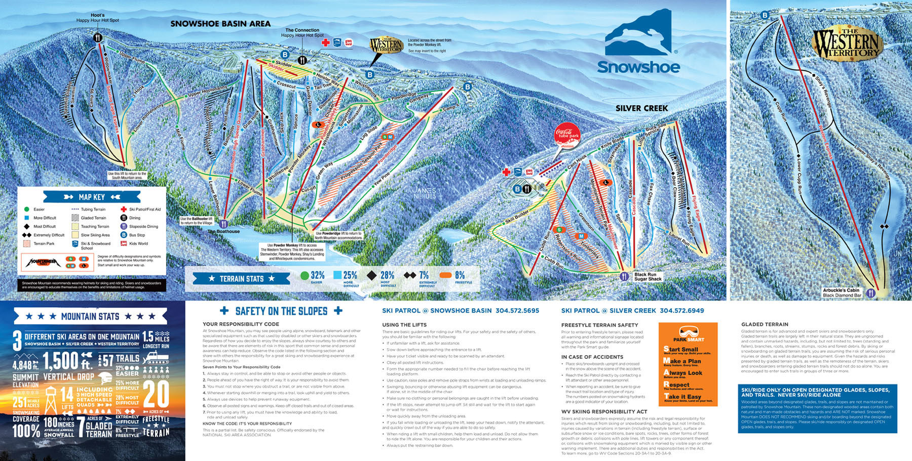 Snowshoe Mountain Resort Mountain Stats Info OnTheSnow - Western us ski resorts map
