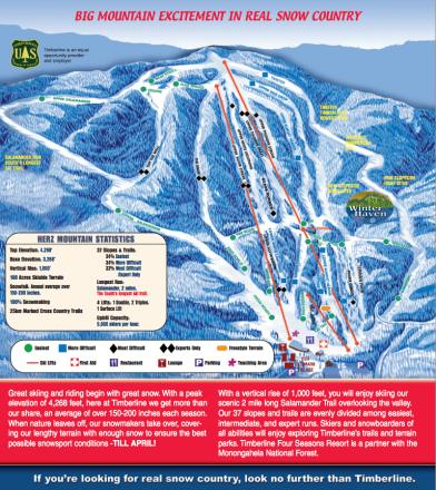 Ski Virginia Map.Timberline Four Seasons Trail Map Onthesnow