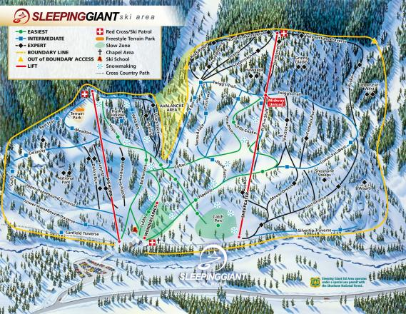 Sleeping Giant Ski Resort Løypekart